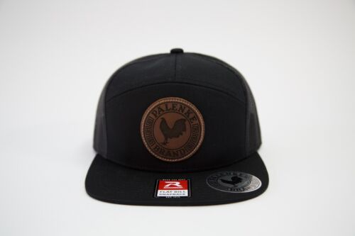 PalenkeBrand 7Panel Leather Patched Flatbill Snapback Game Cock Rooster Hats