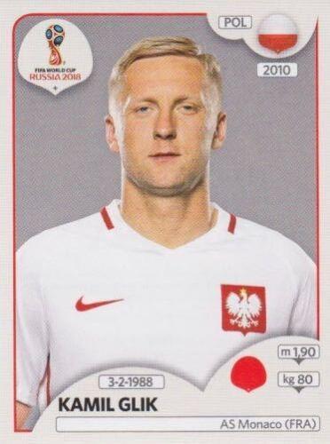 597 Kamil Glik POL Bild NEU Poland Panini Sticker Fußball WM 2018 Russia Nr