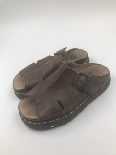 Women's Brown Leather Doc Martin Sandals Size 8 US