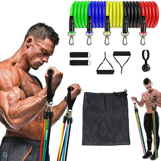 11Pcs Resistance Bands Workout Yoga Set Pull Loop Up Fitness Training Band Gym
