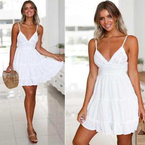 Women Summer Backless Short White Evening Cocktail Party Beach Dresses Sundress