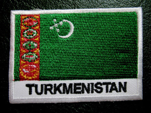 TURKMENISTAN TURKMENIA TURKMEN NATIONAL FLAG Sew on Patch Free Postage