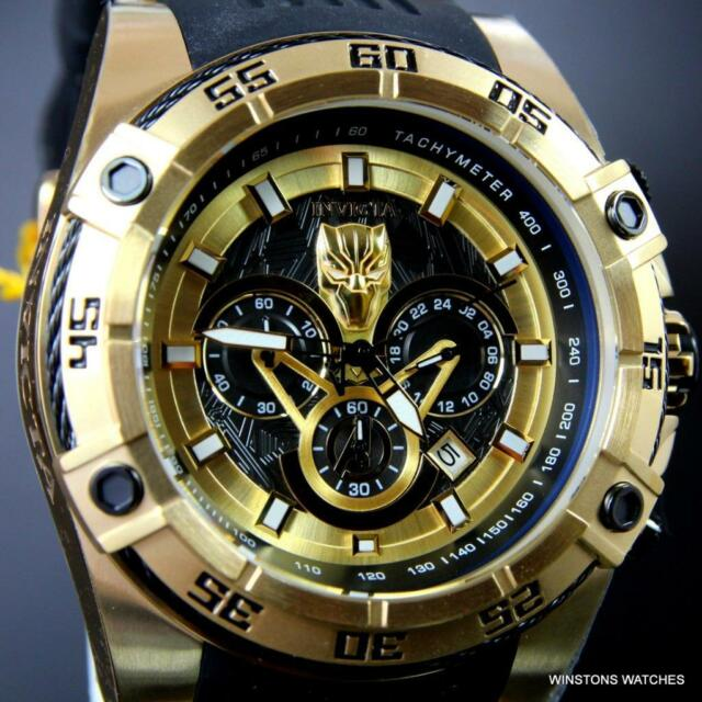 Invicta Marvel Black Panther Bolt Viper 52mm Chronograph Gold Plated Watch New