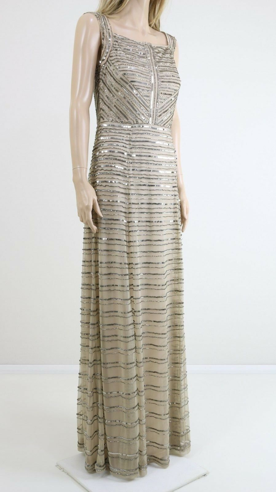 Gina Bacconi Cream Gold Square Neck Embellished Cocktail Maxi Party Dress 12 40