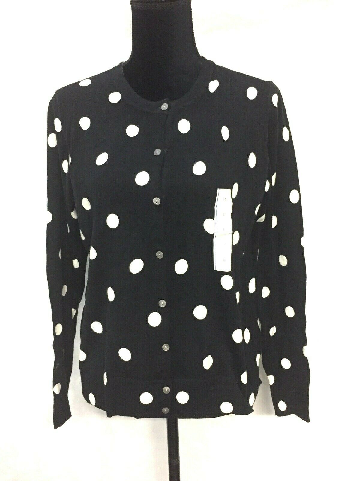 a.n.d Womens Polka Dot Sz L Cardigan Black White A New Day New With Tags Sweater