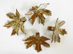 Handmade Ceramic Tile  NAPKIN RINGS Maple Leaf Design Earth Tones Set of 4