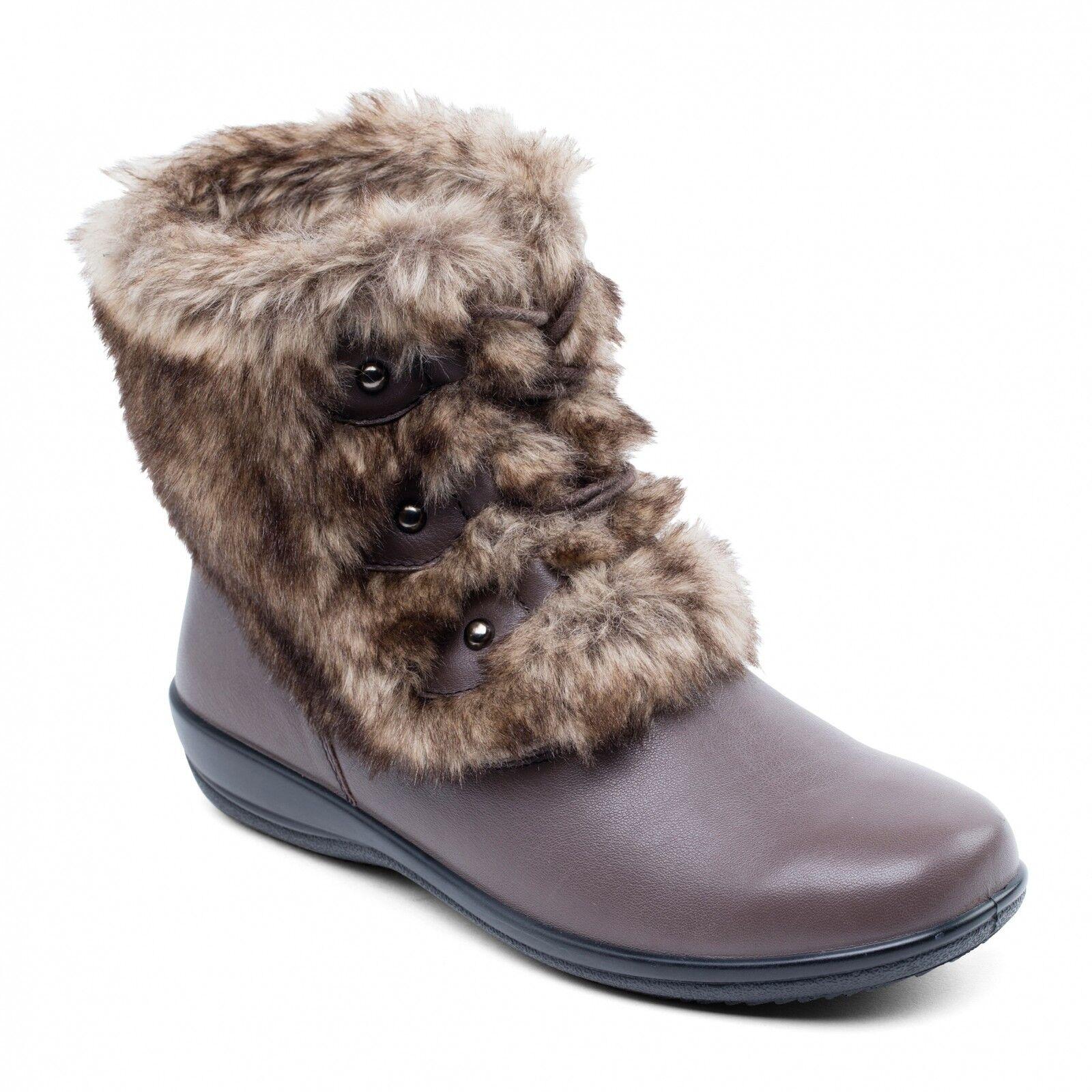 Padders kim femme en cuir extra wide fit fausse fourrure bottes d'hiver marron