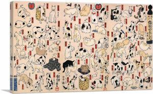 Cats-From-Fifty-Three-Stations-of-the-Tokaido-Canvas-Art-Print-Utagawa-Kuniyoshi