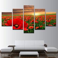 POPPY FLOWER WHEAT FIELD CANVAS PICTURE POSTER PRINT WALL ART UNFRAMED #338