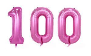 Image Is Loading Huge 40 034 100 Pink Foil Number Balloons