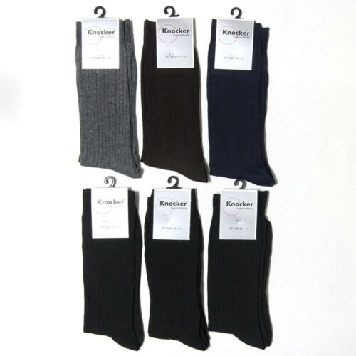 6 12 Pairs Crew Casual Dress Socks Solid Black Polyester Plain Ribbed Mens 10-13