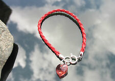 Red Braided Leather Cord Bracelet with 925 Silver Ends and Clasp Crystal Heart