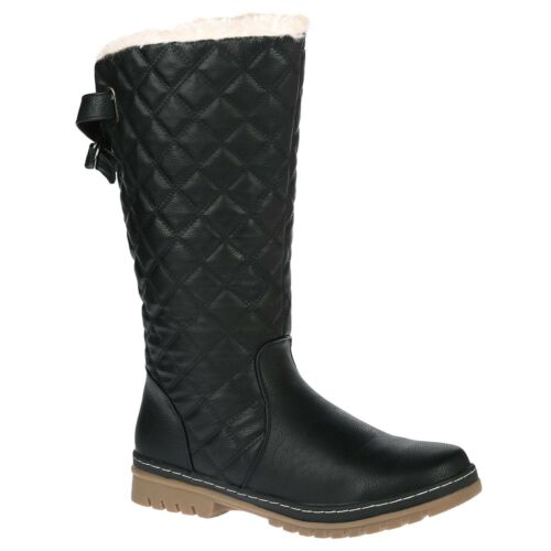 LADIES WOMENS WINTER WARM GRIP SOLE SNOW QUILTED LOW CALF FUR BUCKLE BOOTS SIZE