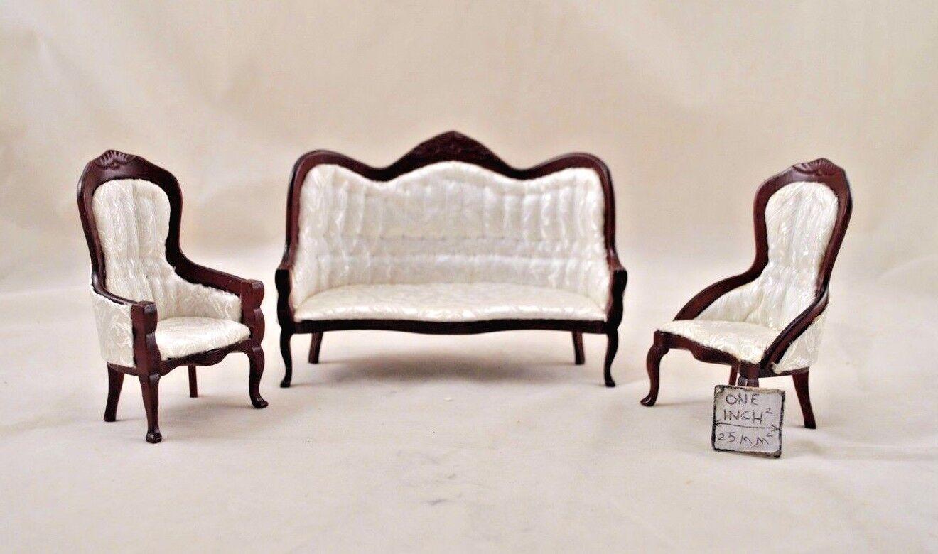 Victorian  Living Room Parlor Set walnut bambolahouse   1 12 scale CLA91713  3pcs  per poco costoso