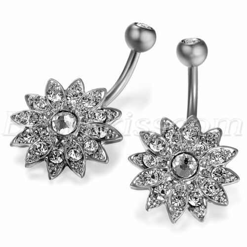 Women/'s Charm Stainless Steel Cubic Zirconia Inlay Flower Shape Navel Ring Nails