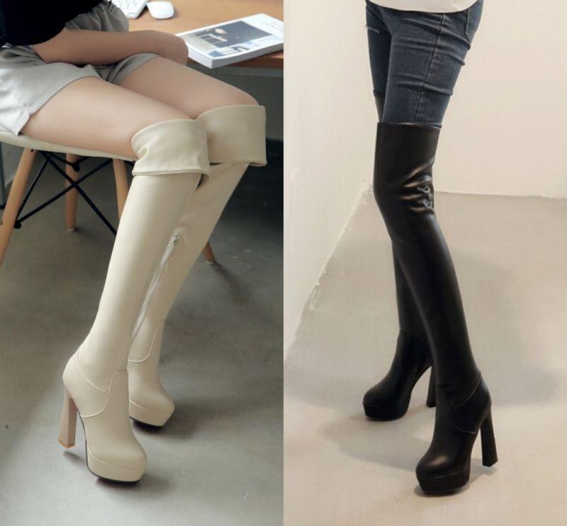 Womens ladies ove knee thigh  Zip boots high heels Sexy platform pull on US4-11