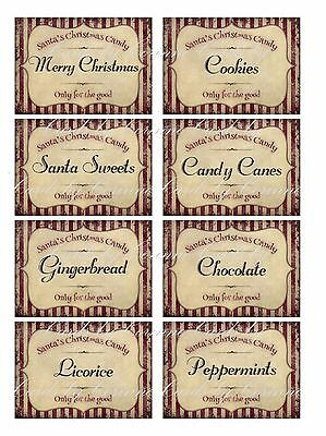 Vintage inspired 8 large Christmas candy labels for gifts, handmade treats