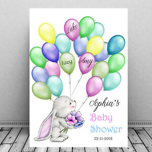 Baby-Shower-custom-Personalized-Guest-Print-SIgn-In-Bunny-Balloons-Fun
