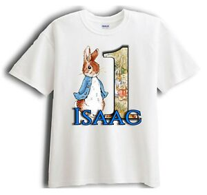 Peter rabbit Birthday T-shirt-Personalised Peter rabbit birthday t-shirt.