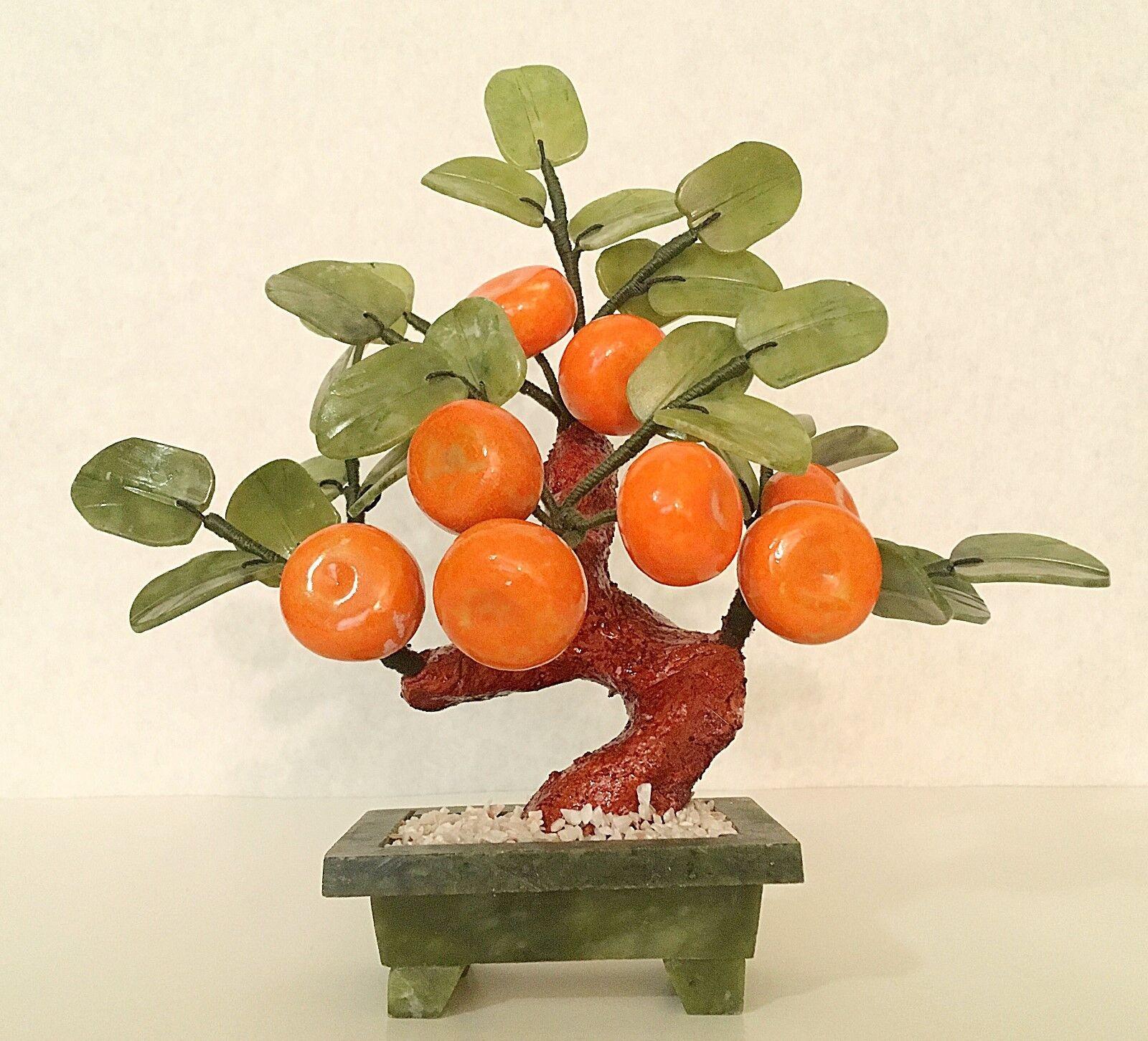 1 pc Handcrafted Jade & Glass Flower Basket Artificial Bonsai Orange Tree
