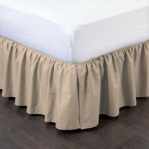 """TAUPE NEW 1PC 14"""" DROP SOLID PLAIN BED SKIRT WITH SPLIT CORNERS IN ALL SIZES"""