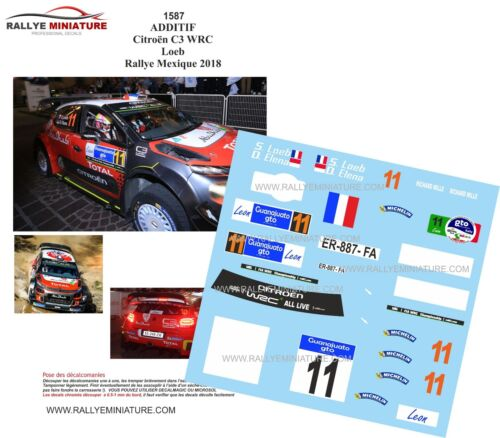 DECALS 1/18 REF 1587 CITROEN C3 WRC SEBASTIEN LOEB RALLYE DU MEXIQUE 2018 RALLY