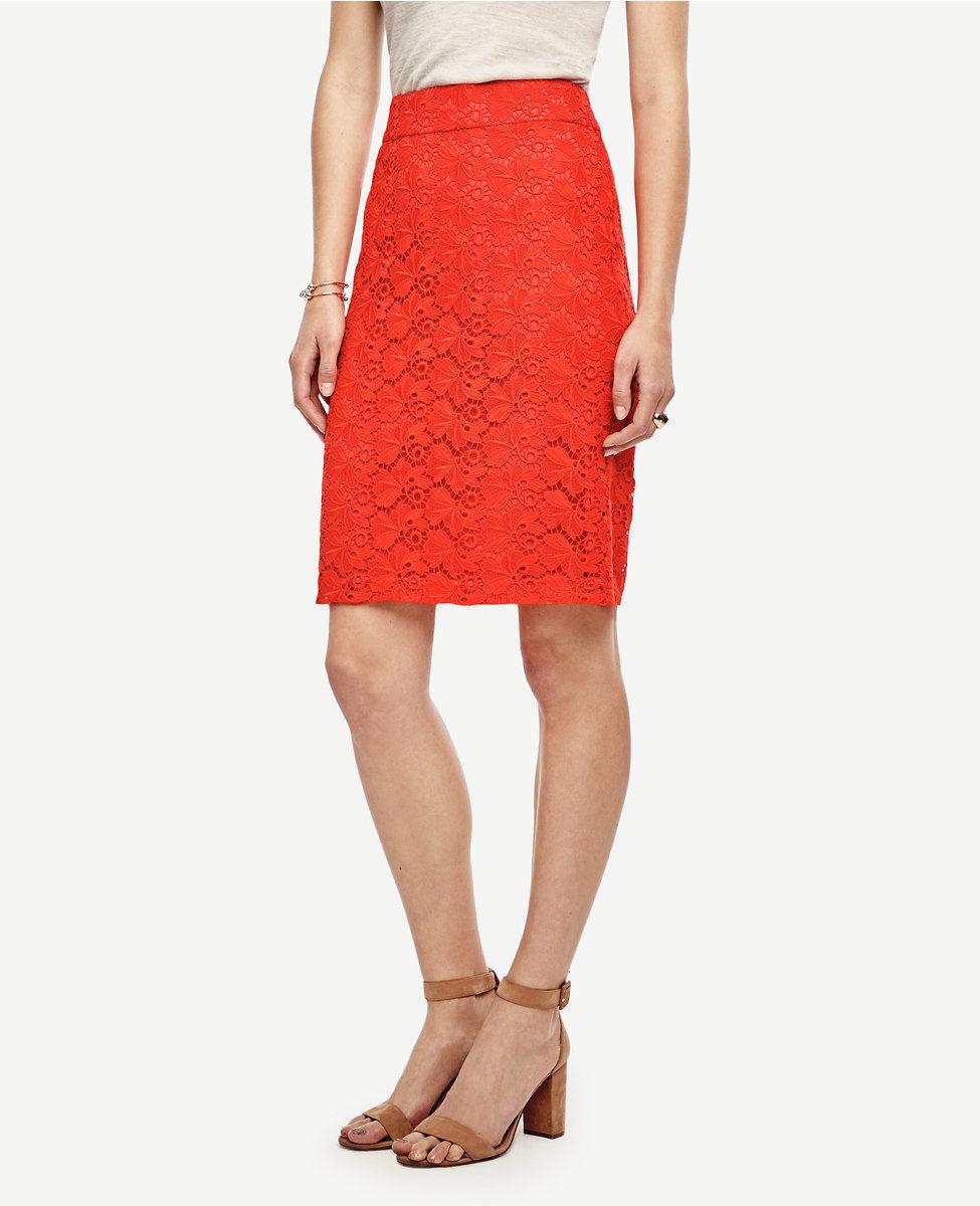 Ann Taylor - Petite 6P Fiesta orange Floral Lace Pencil Skirt  98 (D610)