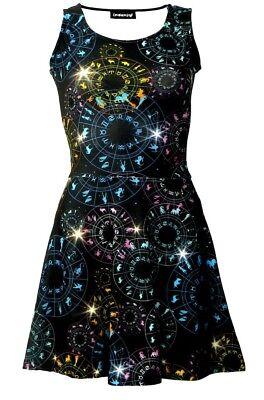 Astrology Horoscope Star Signs Zodiac Symbols Galaxy Cosmic Printed Skater Dress