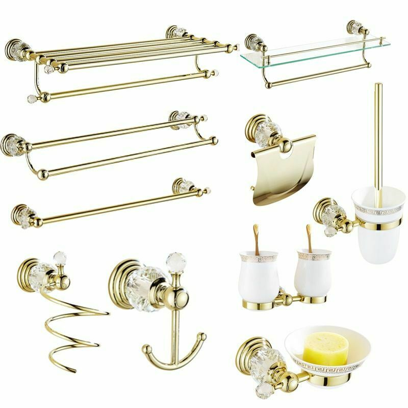 Wall Mount Bathroom Accessories Solid Brass Luxury Gold Polished Hardware Sets