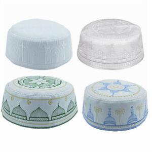 Muslim-Men-039-s-Prayer-Kufi-Caps-Hat-Beanie-Embroidered-Islamic-Topi-Gift-3-Colors