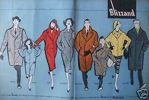 PUBLICITE-DE-PRESSE-1958-BLIZZAND-TISSU-GARANTI-BOUSSAC-DESSIN-GRUAU