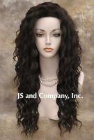 Human Hair Blend Long Wavy Dark Brown Flat Iron Safe 22 Wig Sca 4