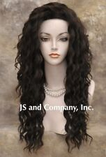 "Human Hair Blend Long Wavy Dark Brown Flat iron safe 22"" Wig sca 4"