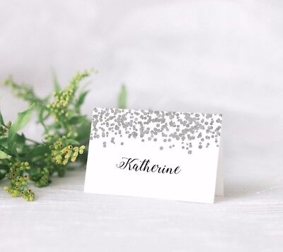 pre-printed with guest names Glitter Heart Personalised Wedding Place Cards