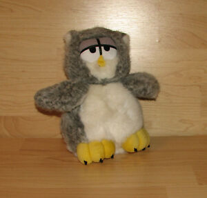 Dakin Owl Plush Stuffed Animal Yellow Grey Gray Head Spins Sleepy Eyes SPK