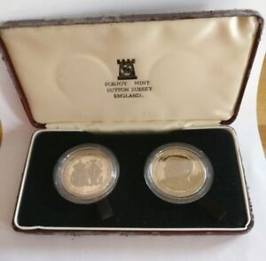 Rare Isle of Man 2 Crown Set Royal Wedding Prince Andrew & Sarah Ferguson 1986