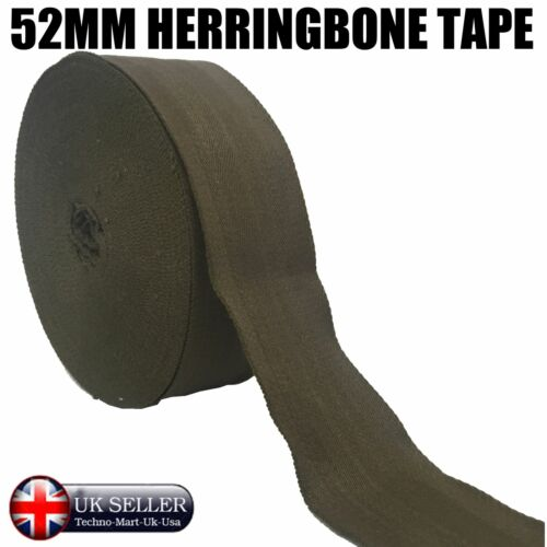 50MM MILITARY GREEN  HERRINGBONE COTTON TAPE WEBBING APRONS DECORATIONS SEWING