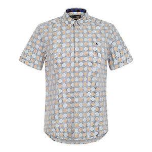 Merc-London-Hombre-Retro-Mod-Manga-Corta-Estampado-Camisa-Mar-Caspio-Azul-Cool