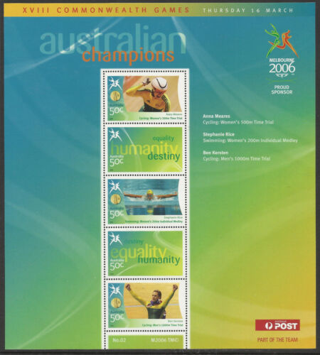 AUSTRALIA 2006 COMMONWEALTH GAMES GOLD MEDAL Souvenir Sheet No 2 MNH