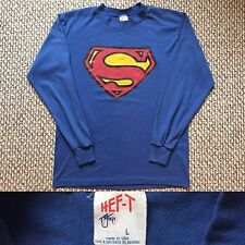 Vintage Vtg 1980s 80s HEF-T Tee Jays Superman Logo Long Sleeves T Shirt USA Blue
