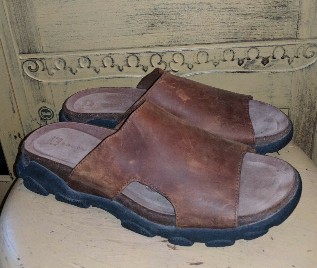 BROWN SHOE CO LEATHER MENS MULES SLIP ON SANDALS 11 M HIPSTER CASUAL HIPPIE 44