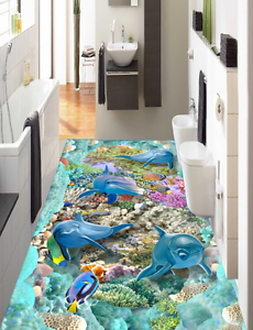 3D Dolphin Coral 693 Floor WallPaper Murals Wallpaper Mural Print AJ AU Lemon