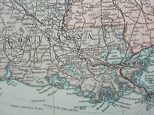 1919 Large Map United States South Central Texas Arkansas