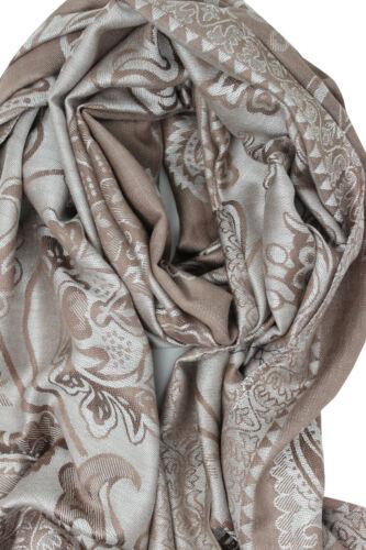 Women/'s Self Paisley IN RILIEVO E Stampa Floreale Sciarpa DOUBLE FACE pashmina caduto