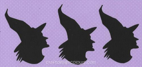 DIE CUT 3 x WITCH HEAD SILHOUETTE
