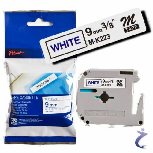 BROTHER P-touch 9mm Beschriftungsband M-K223 MK223 original 8m Band Blau Weiß