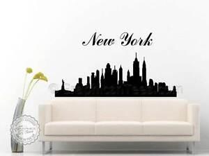 new york skyline vinyl wall art sticker decal home mural ebay. Black Bedroom Furniture Sets. Home Design Ideas