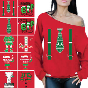 7217767daf3 Image is loading Elf-Christmas-Sweatshirts-Ugly-Christmas-Off-Shoulder- Sweaters-