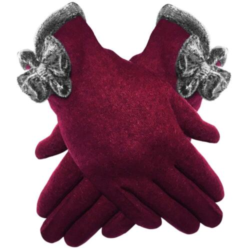 LADIES LUXURY SOFT COSY WOOL RICH WINTER GLOVES CHENILLE TRIM /& BOW 3 COLOUR