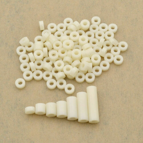 3mm ID White ABS Plastic Non-Thread Standoff Spacer Washer For M3 Screw 100PCS
